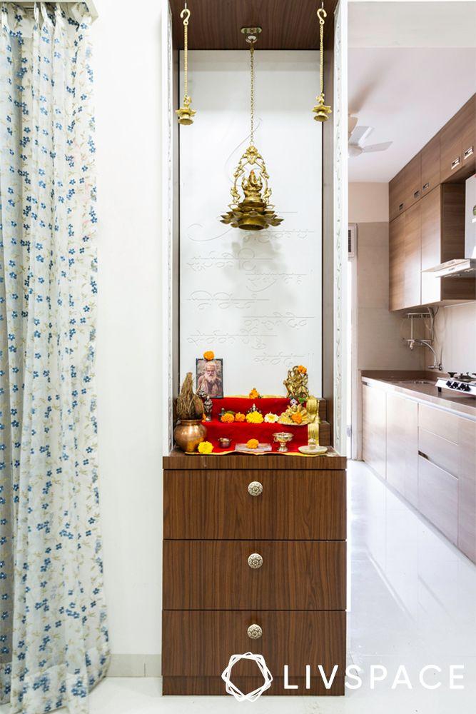 2 bhk home interior-pooja unit design