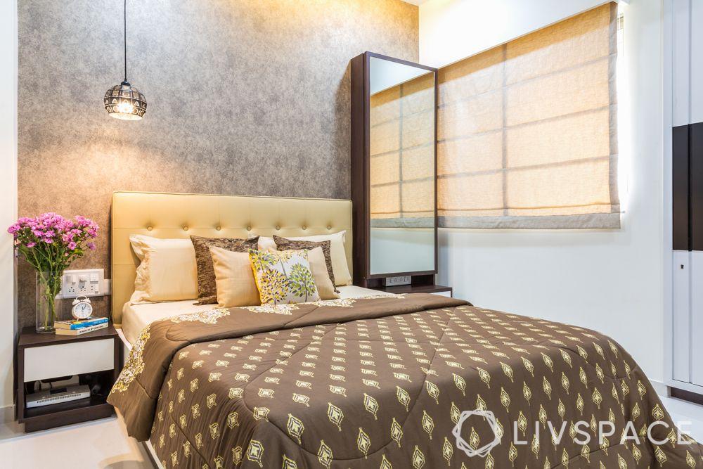 livspacehomes-mumbai interiors-master bedroom-accent wall-pendant light