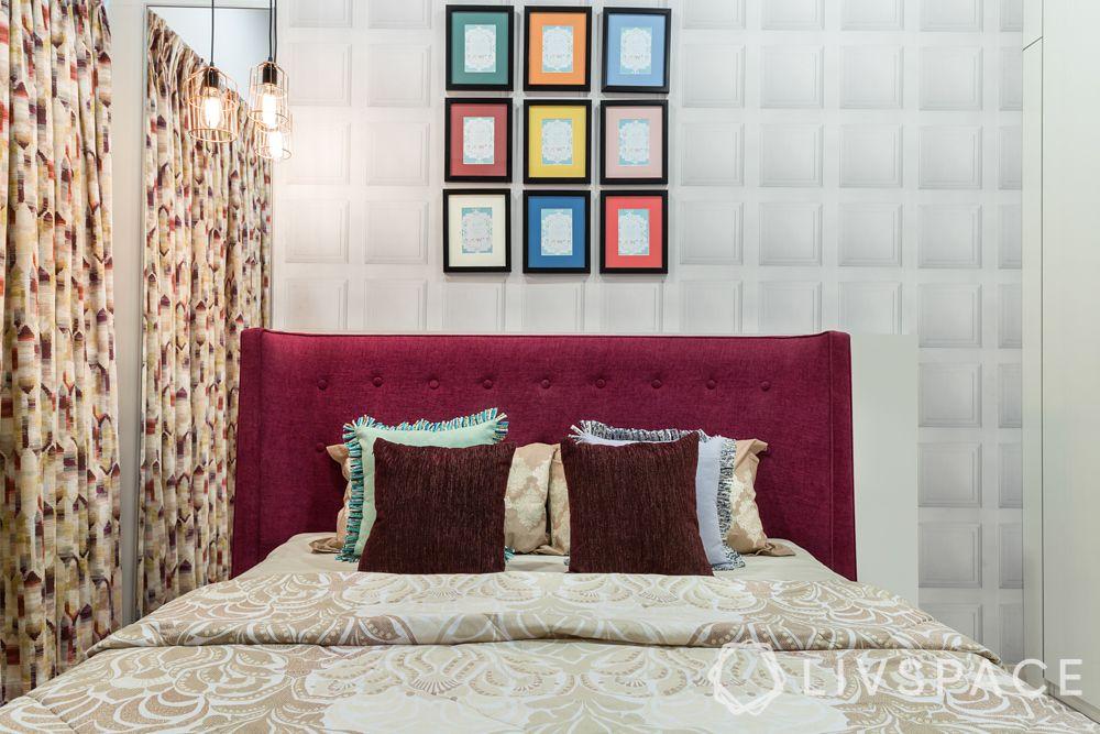 livspacehomes-mumbai interiors-master bedroom-fabric headboard-geometric wallpaper-artsy