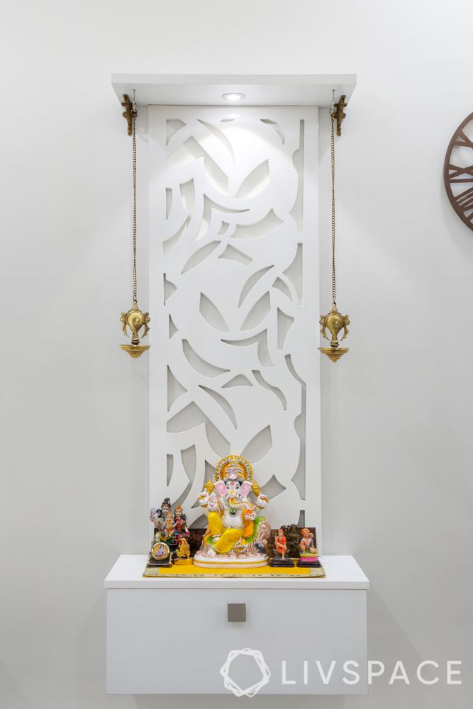 middle class indian style pooja room designs-white pooja room