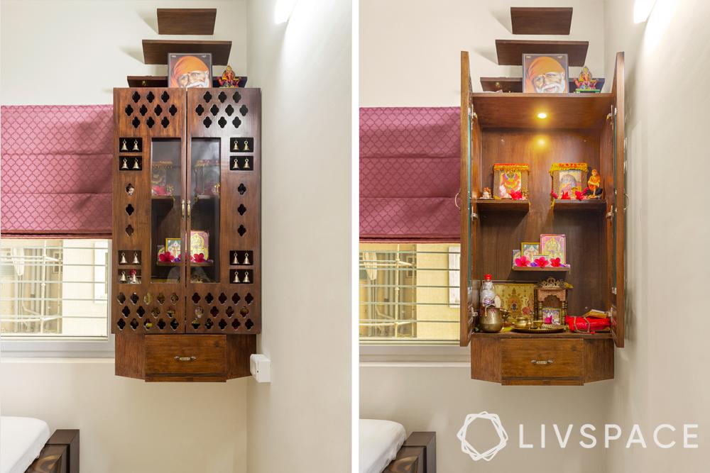 pooja room designs-wooden pooja unit
