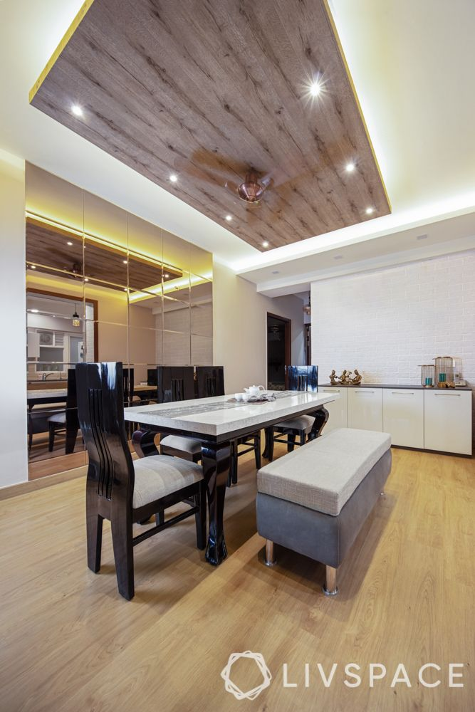 dining room-wooden ceiling design-mirror wall