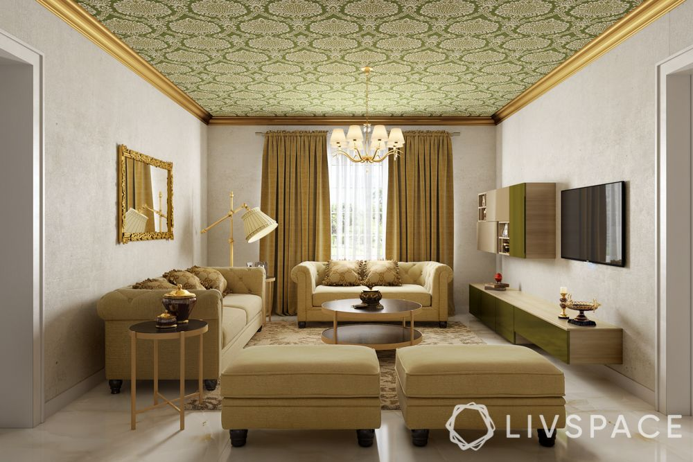 ceiling design trends-wallpaper-sofa-living room