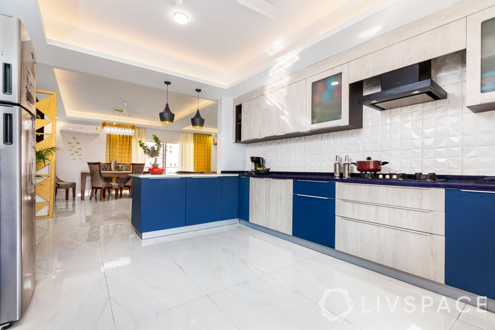 blue and white kitchen-false ceiling designs