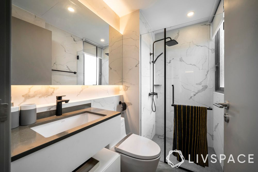 small bathroom designs for Indian homes-cove lights-bathroom lighting