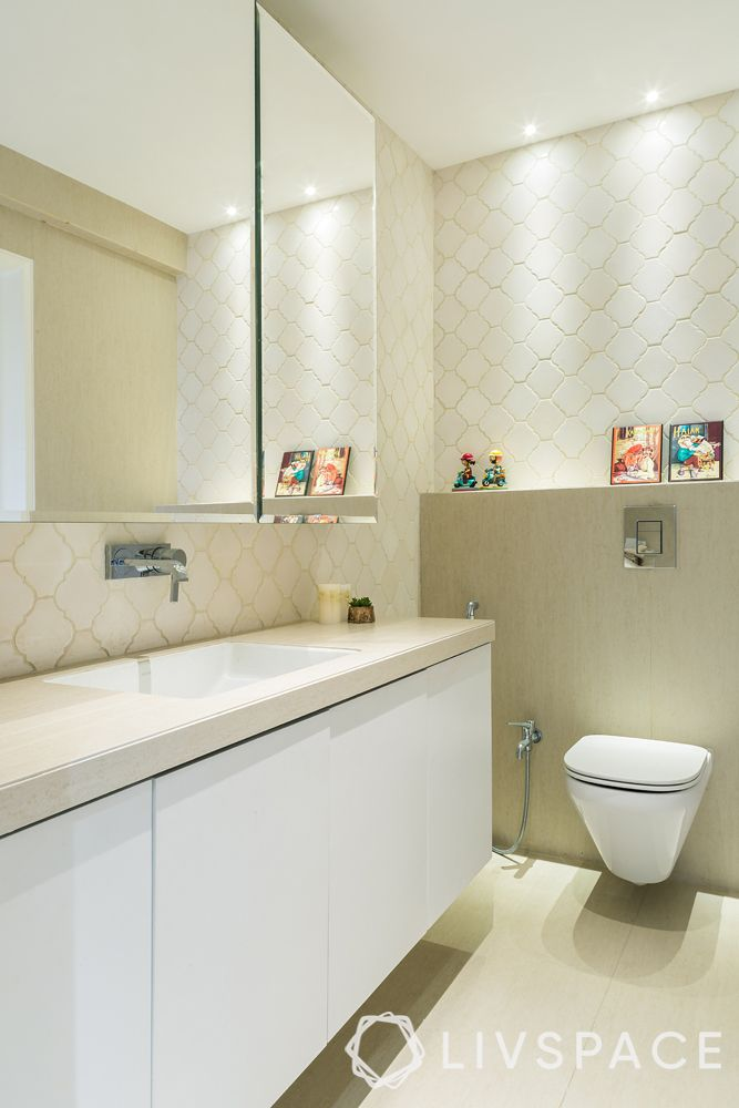 Indian bathroom designs for home-small spotlights-sink-shelves