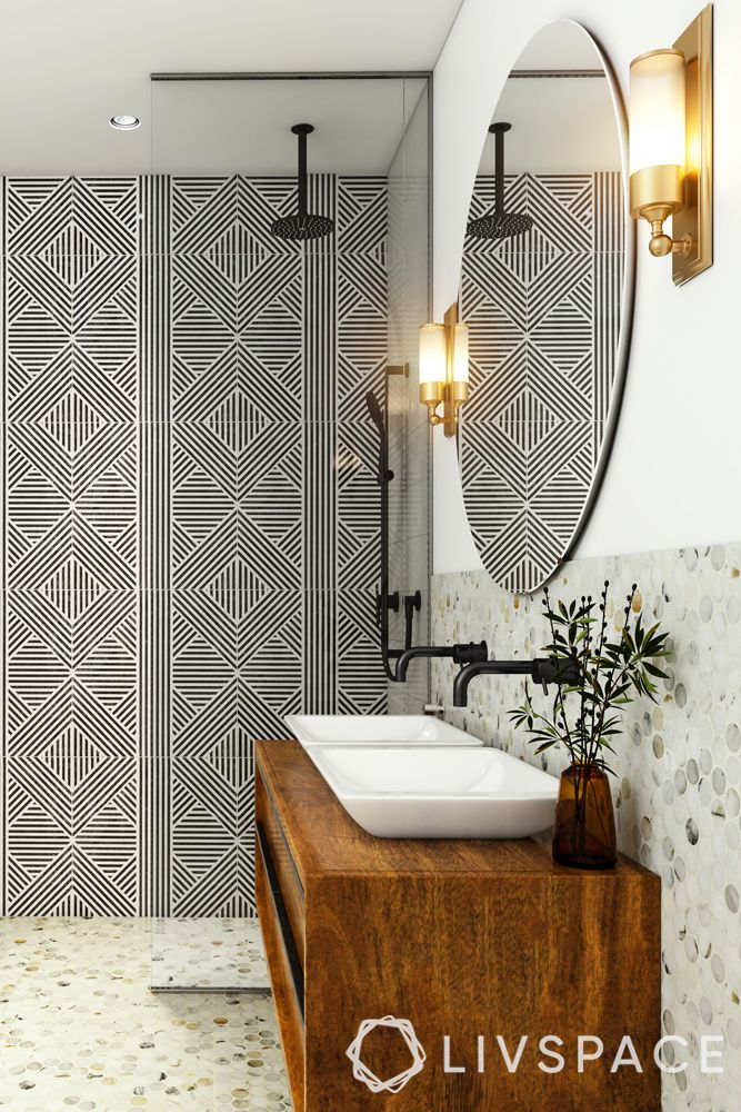 small bathroom designs India-wall lights-sink-wallpaper