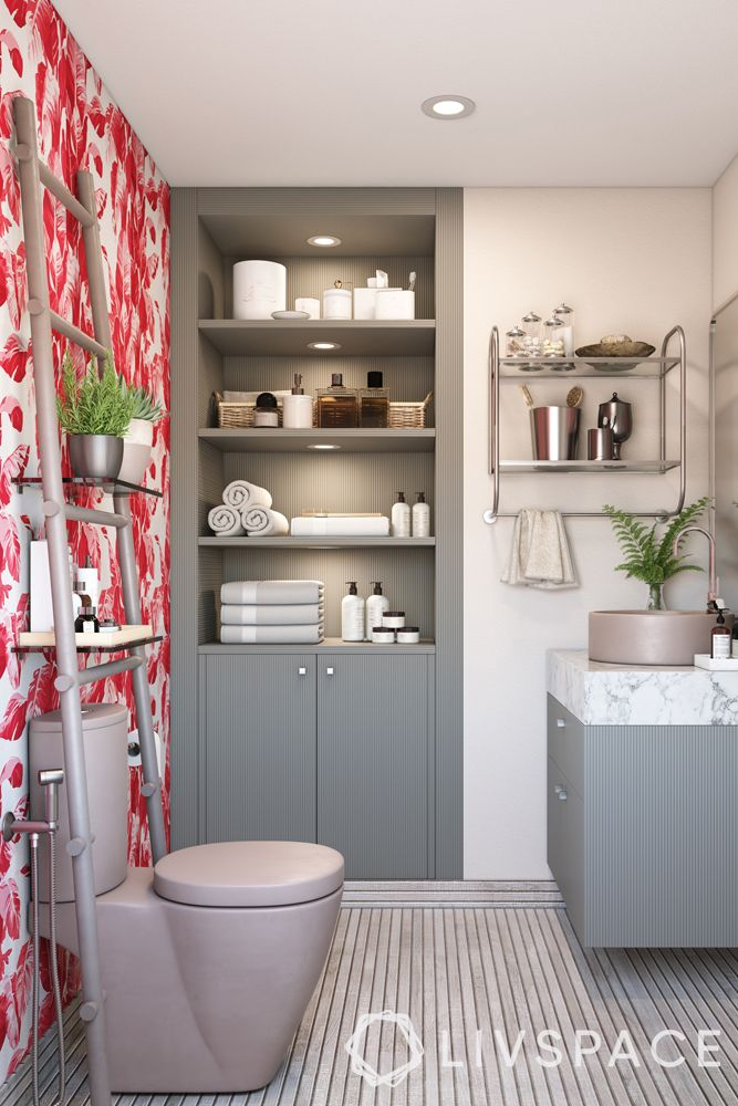 bathroom design India-floral wallpaper-toilet-cabinets-sink