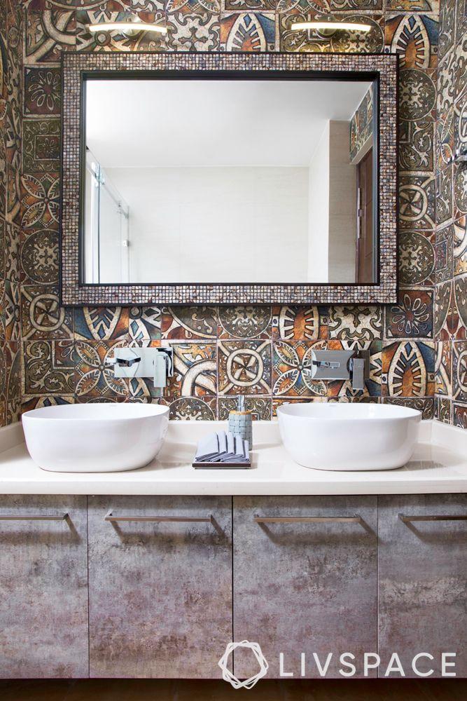 Indian bathroom designs for home-moroccan tiles-mirror