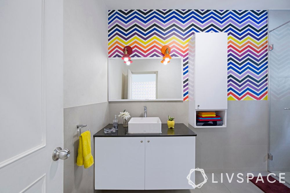 small bathroom designs for Indian homes-colourful stripes-white wall-whiteware