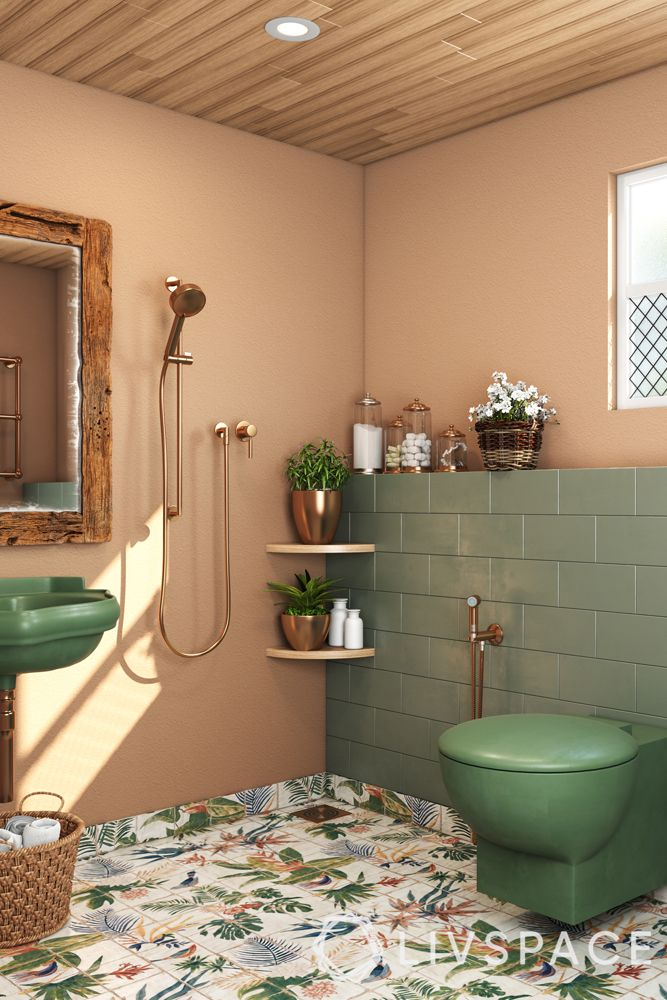 bathroom design India-green tiles-green bathroomware-floral flooring-gold accessories