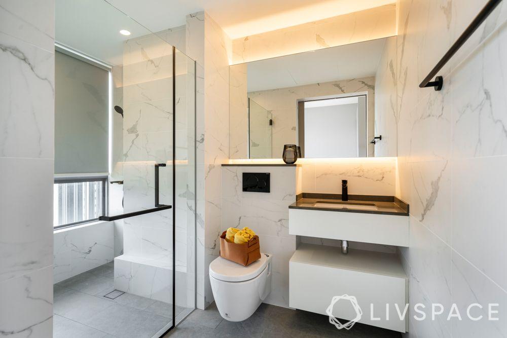 bathroom design India-contemporary style-white tiles-whiteware-lighting