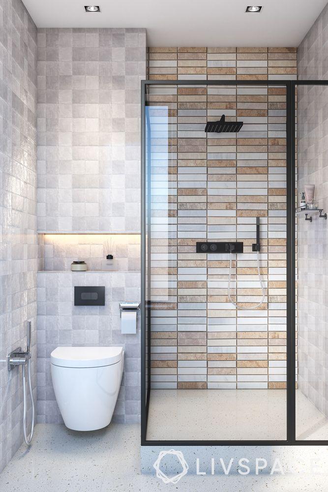 Indian bathroom designs for home-Scandinavian style-natural tones-shower cubicle