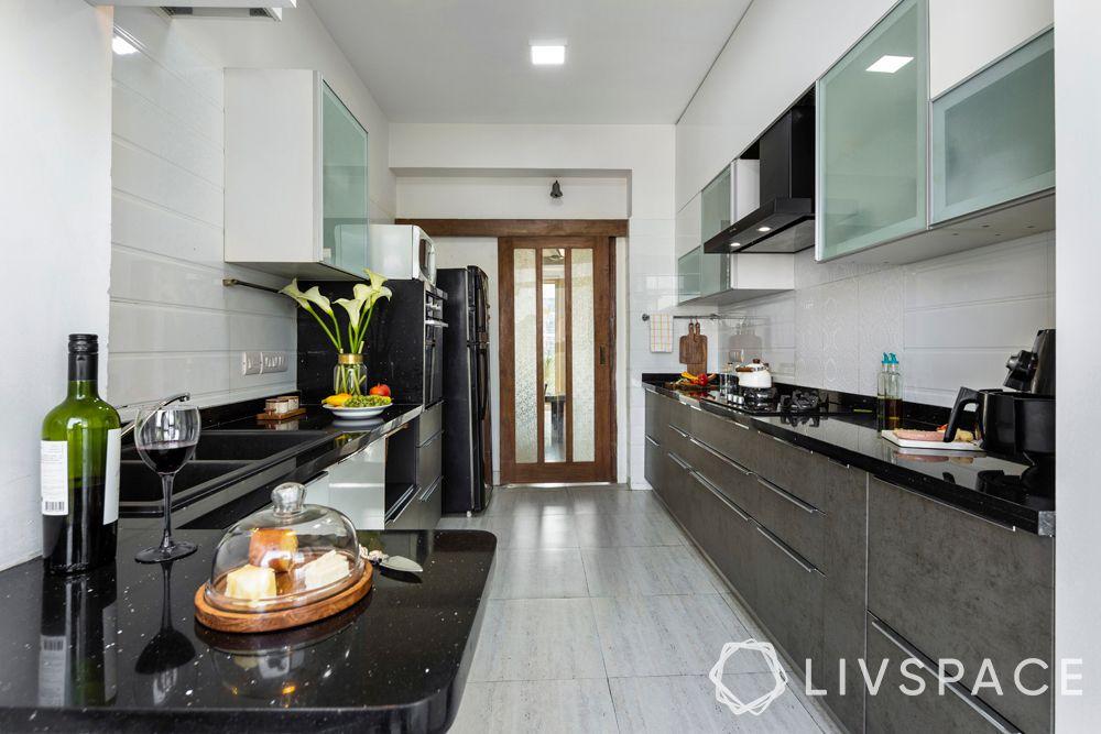 small kitchen design-neutral kitchen-grey cabinets-white cabinets-parallel kitchen