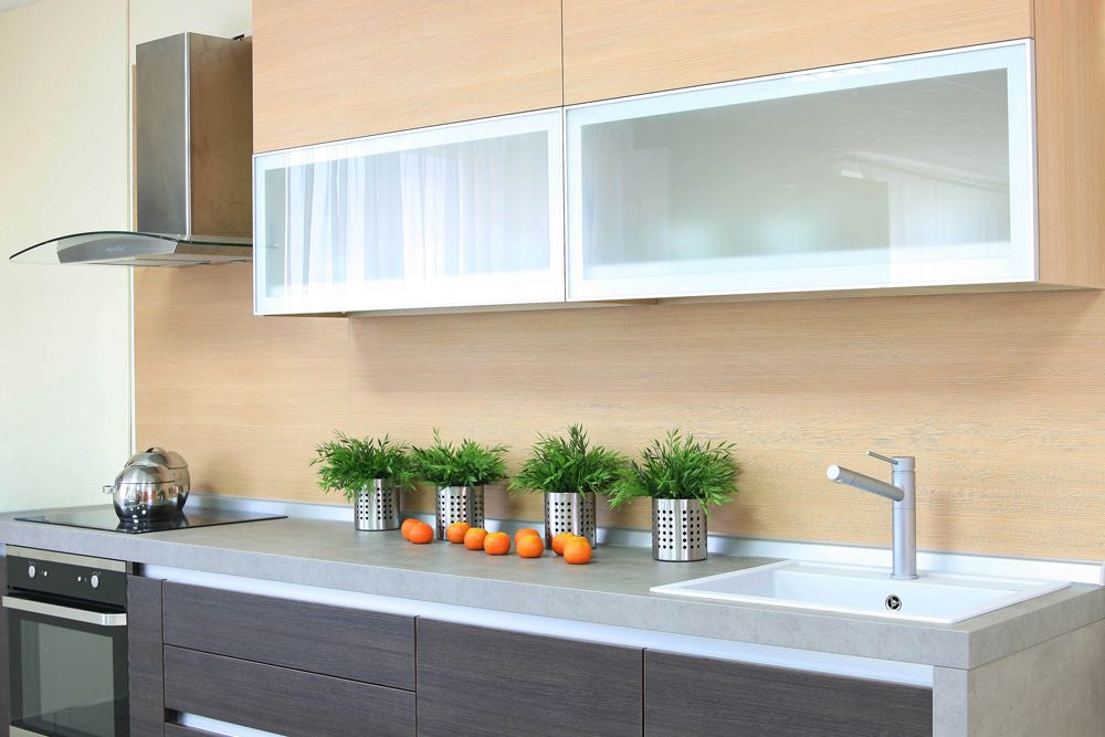 small kitchen-frosted glass cabinets
