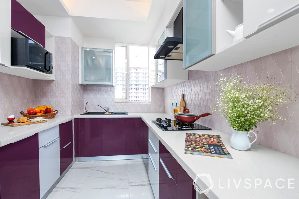 small kitchen design-U shaped kitchen-purple and white cabinets