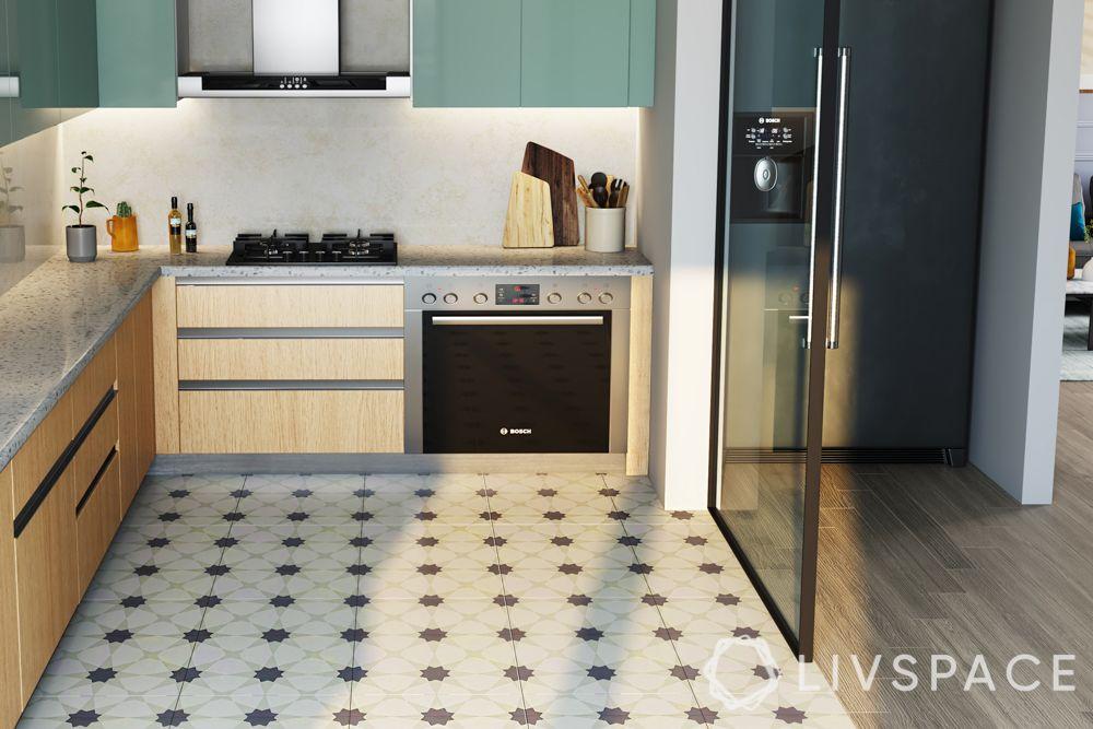small kitchen design-flooring pattern
