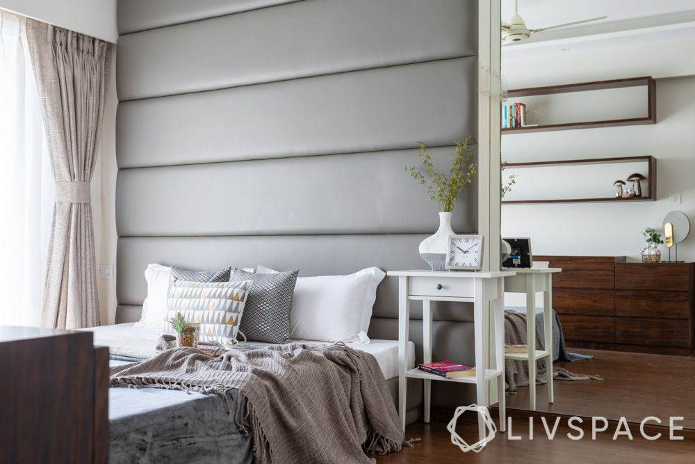 interior design in india-grey bedroom-headboard design