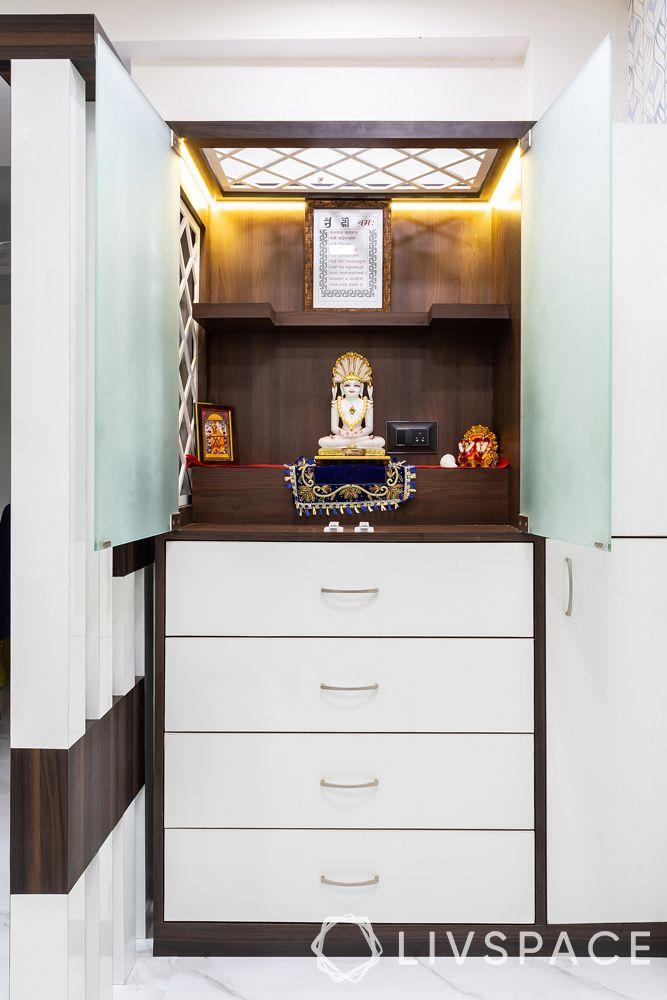 pooja room designs-glass pooja rooms