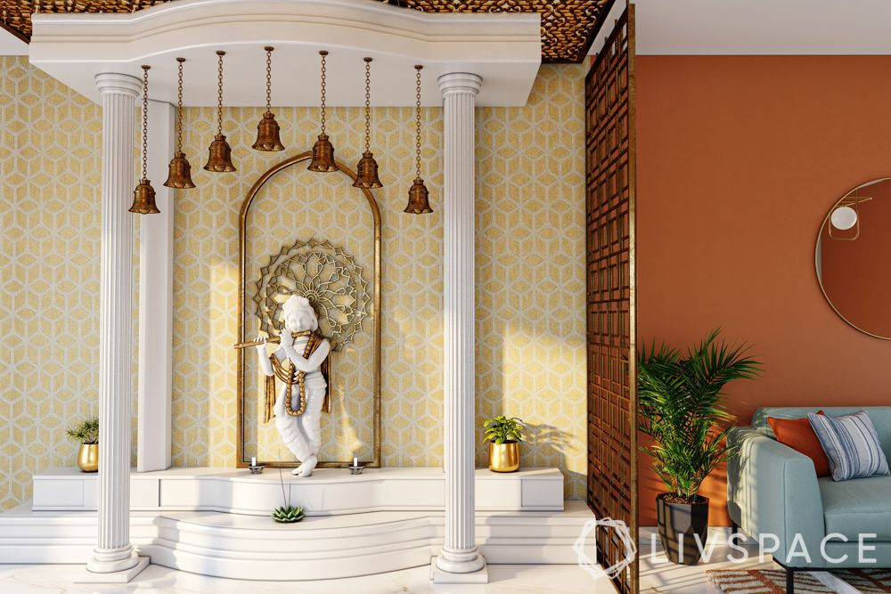 vastu tips-direction-location-white pooja room-krishna idol-bells