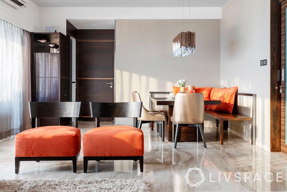 orange chairs-orange cushions
