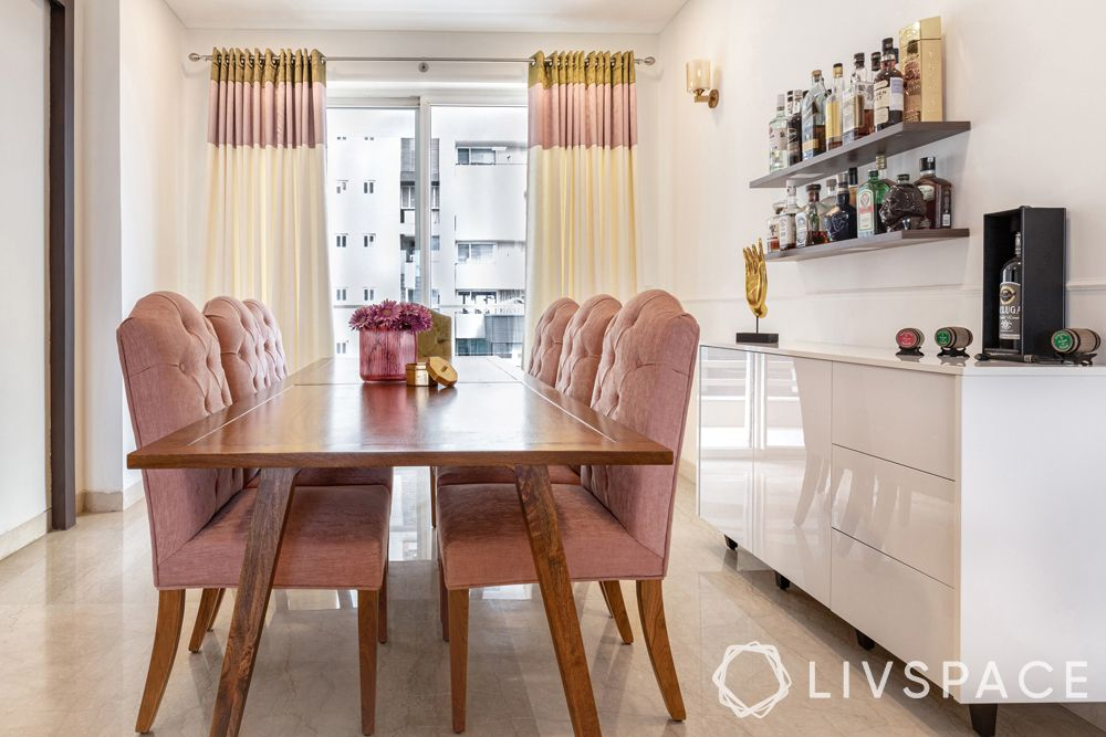 pastel colour combination-dining room-dusty pink chairs-wooden dining table-curtains