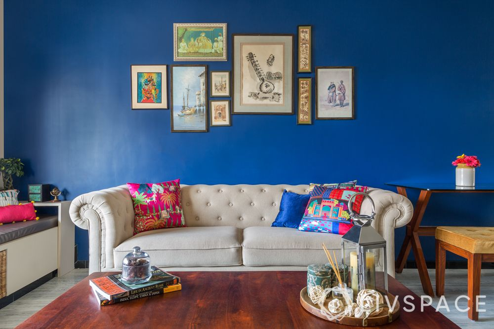 two colour combinations for living rooms - accent walls