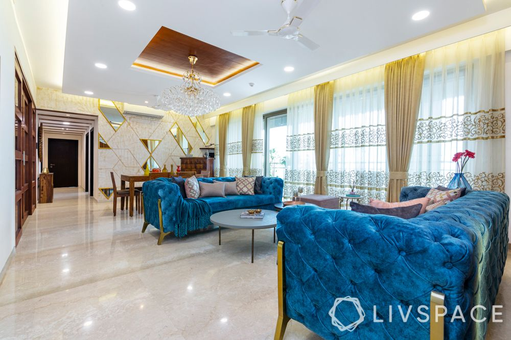 two colour jewel combination living room