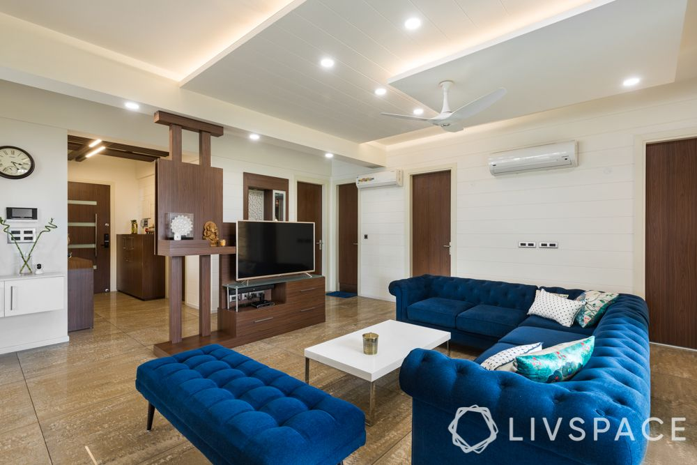 two colour combination for living room - wooden tones