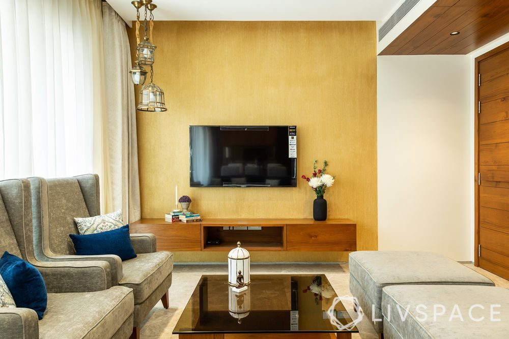 3bhk flat interior designs-tv unit designs-texture painted wall