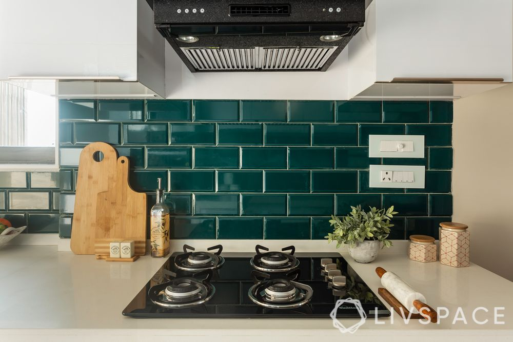 kitchen in india-green tiles
