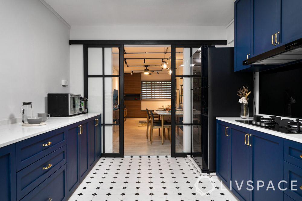 blue kitchen-partition designs