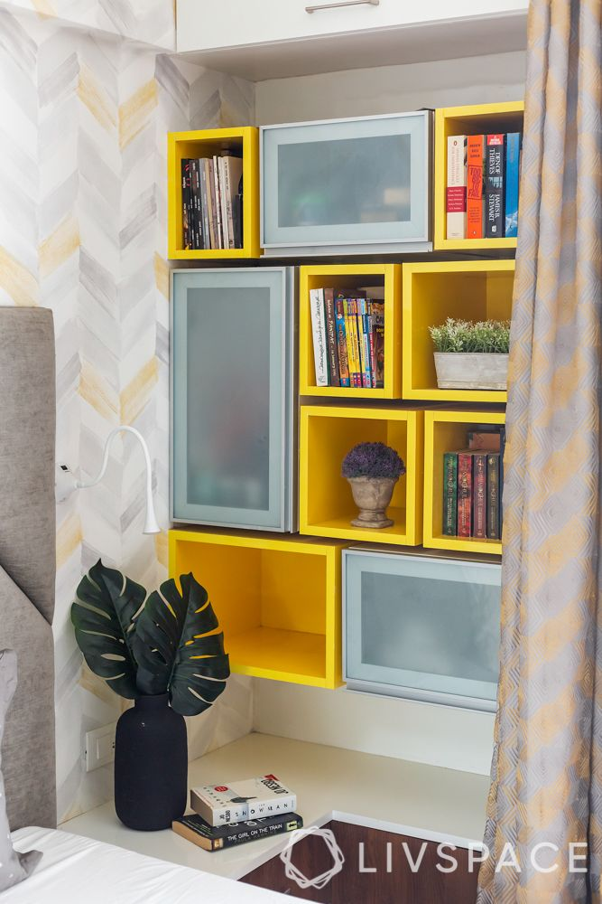 bedroom interior design-wall mounted cabinet-open and closed units