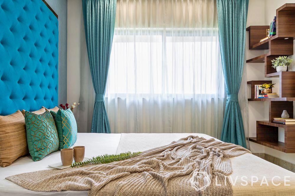 bedroom designing-long blue curtains-sheer drapes-bed