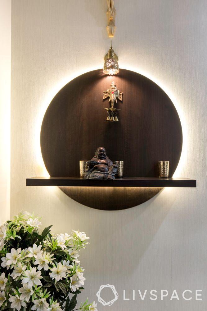 small bedroom design-wall mounted display unit-lighting