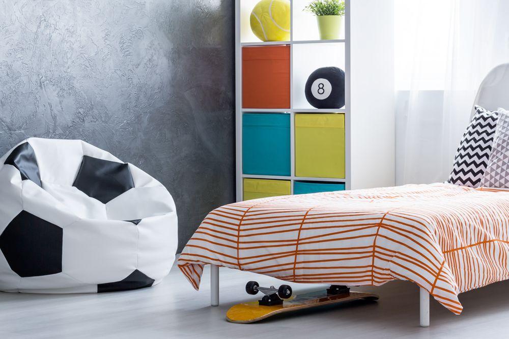 small bedroom design-football bean bag-bed