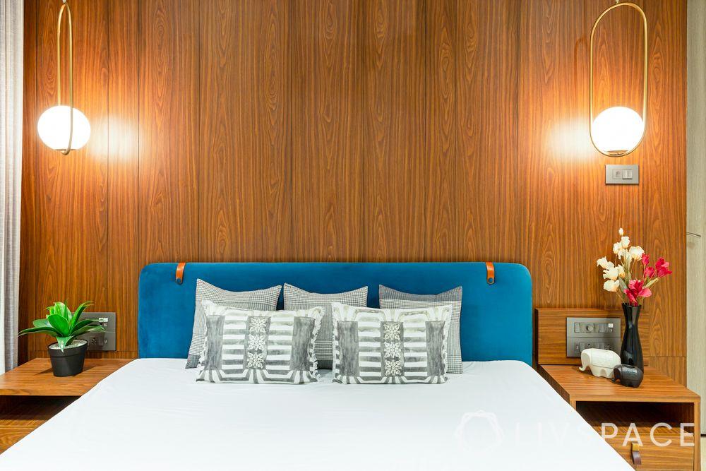 bedroom designing-pendant lights-bed