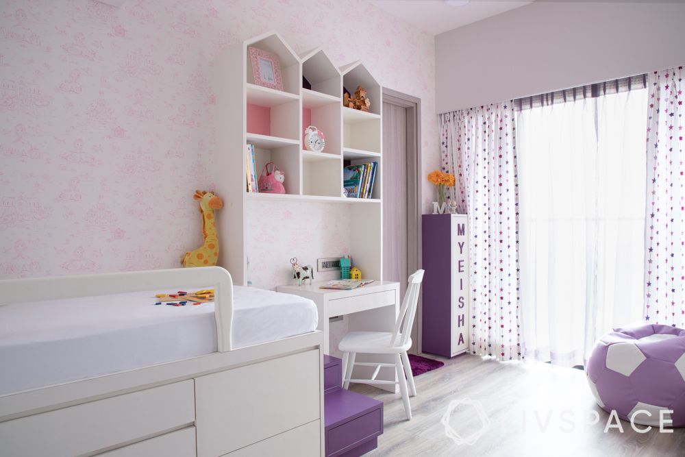girls bedroom ideas-cute bedroom-light pink and white theme-pops of purple