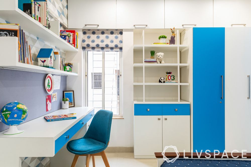 bedroom ideas for girls-blue and white theme-storage unit-study table