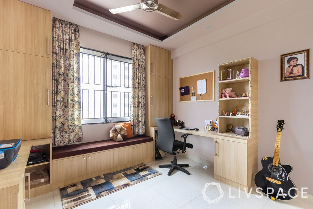 bedroom ideas for girls-wood like furniture-seating-study table