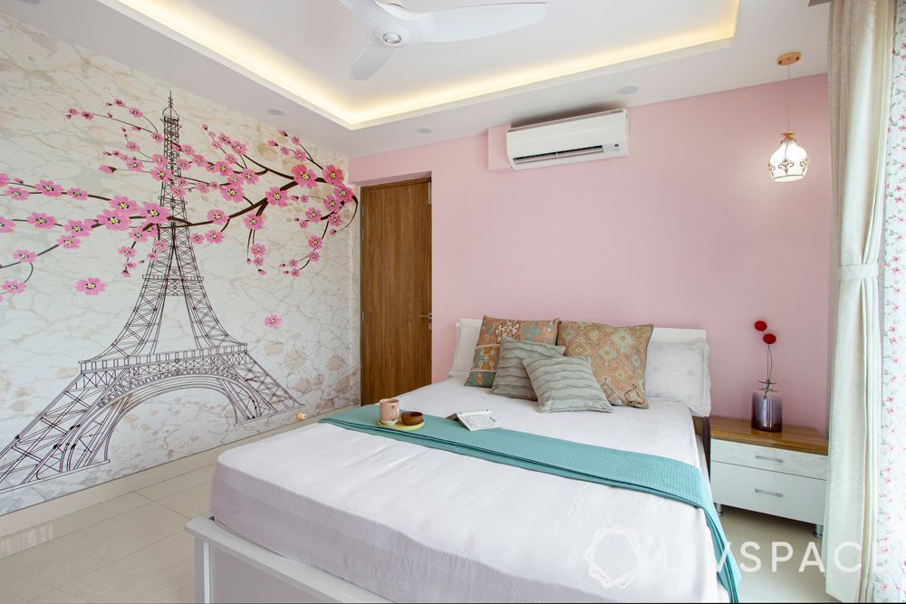 girls bedroom ideas-Paris themed room-Eiffel Tower-wallpaper