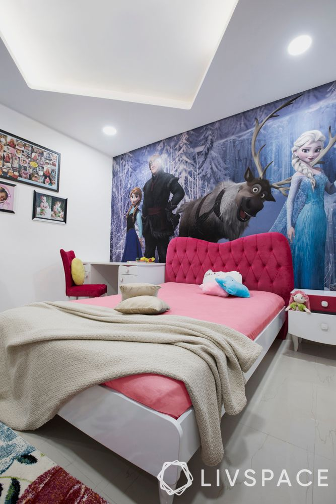 bedroom design for girls-Frozen themed-wallpaper-bed-headboard