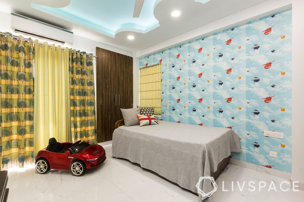bedroom ideas for girls-quirky wallpaper-false ceiling