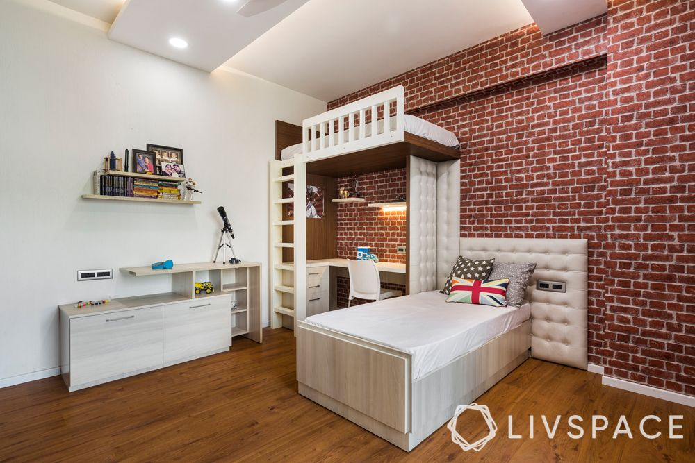girls bedroom ideas-rustic themed-brick wall-wooden floor