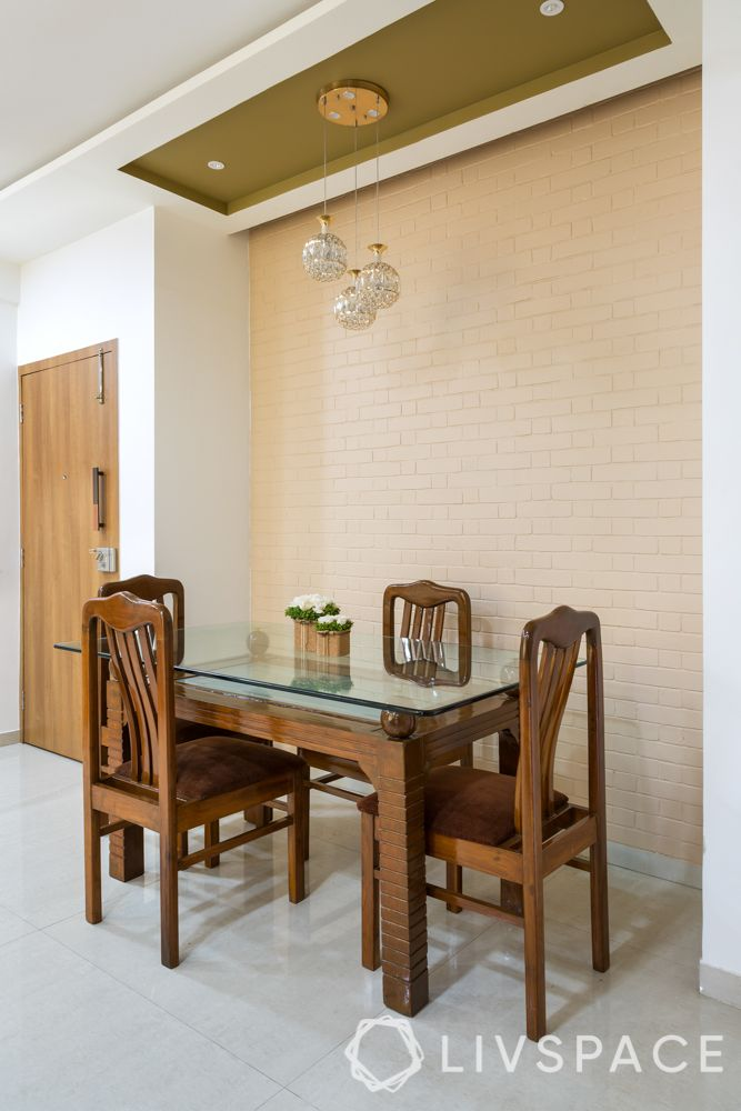 brick wall design-gypsum ceiling