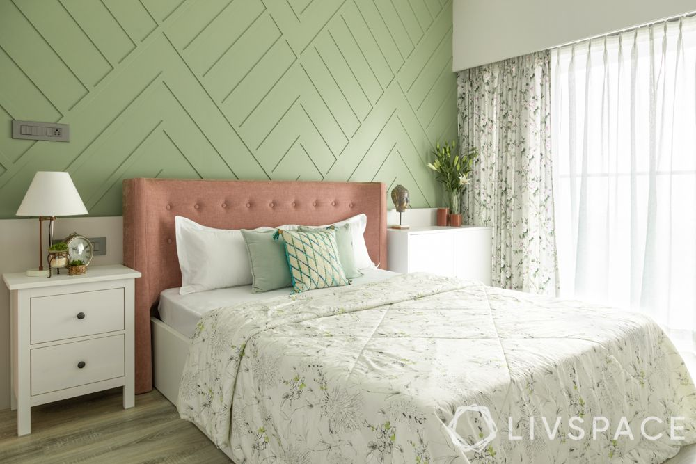 2 bhk interior design cost-green wall-pink headboard