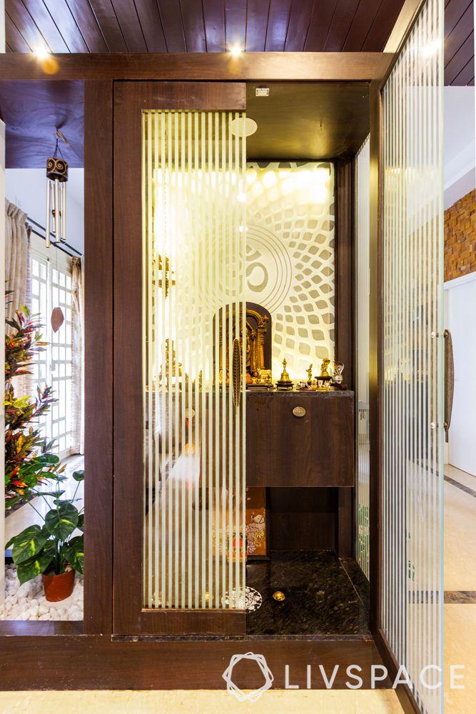 mandir design - glass and wood doors