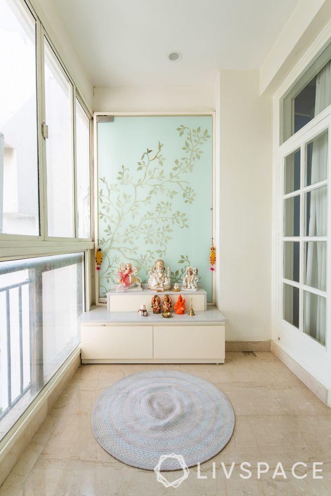 mandir design - glass back panel