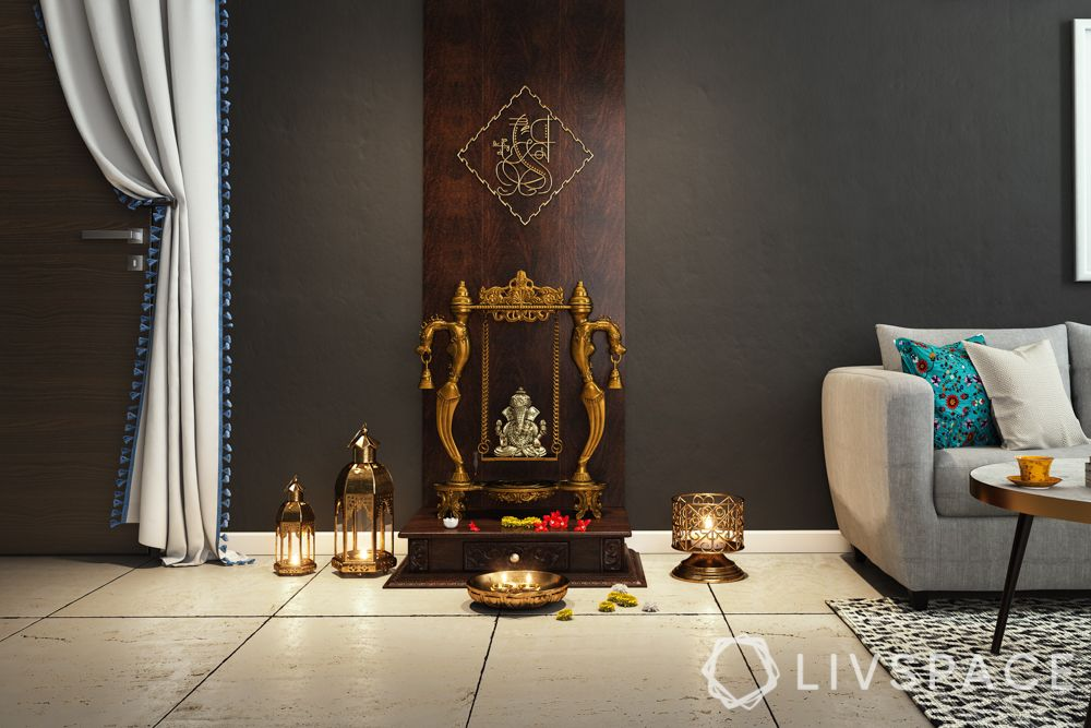Home temple-simple design-ganesha idol-wooden panel