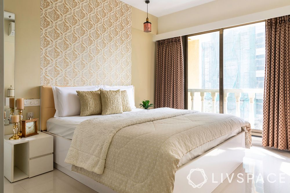 small house design inside-master bedroom-beige and white-custom hydraulic bed-floral wallpaper
